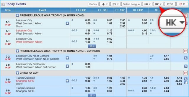 Ví dụ Odds Hong Kong (HK Odds)