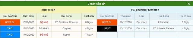 3 trận tiếp theo Inter vs Shakhtar Donetsk