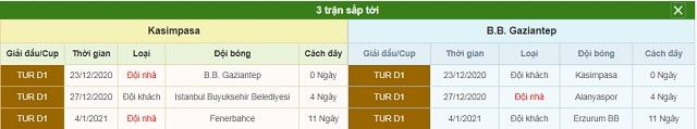 3 trận tiếp theo Kasimpasa vs Gaziantep