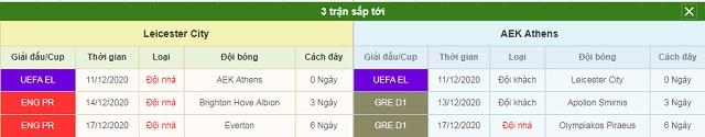 3 trận tiếp theo Leicester vs AEK Athens