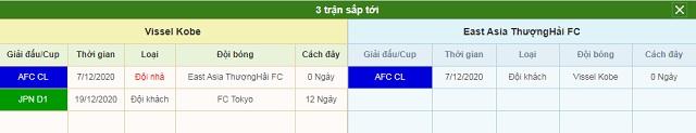 3 trận tiếp theo Vissel Kobe vs Shanghai SIPG