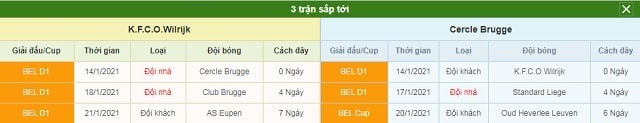 3 trận tiếp theo Beerschot vs Cercle Brugge