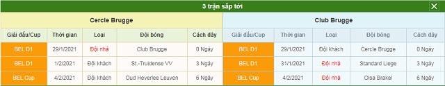 3 trận tiếp theo Cercle Brugge vs Club Brugge