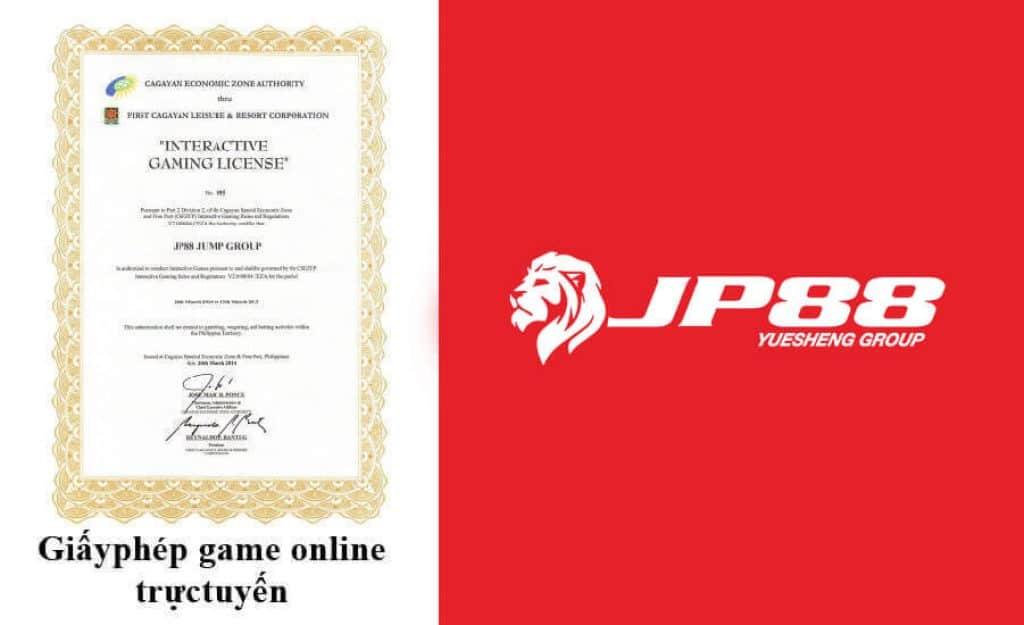 JP88 được cấp giấy phép kinh doanh game online trực tuyến