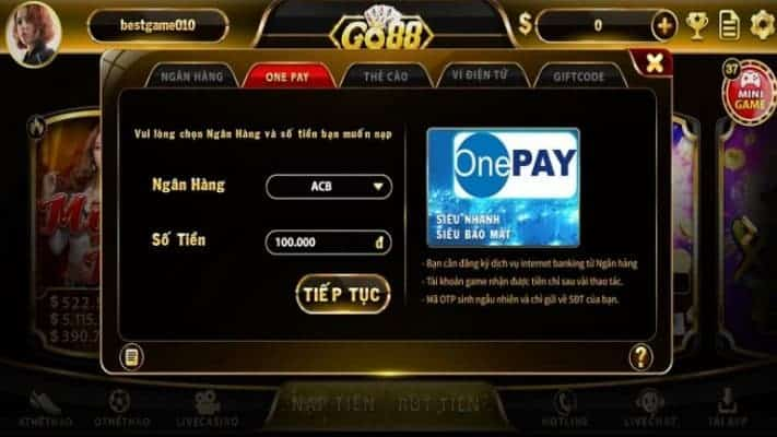 Nạp tiền bằng One Pay Go88